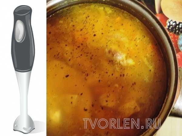 тыквенный суп-пюре на курином бульоне и блендер