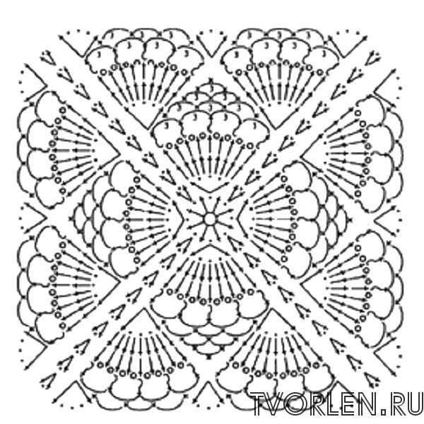 квадратный мотив с ракушками - схема