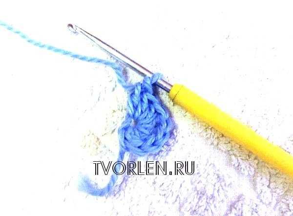 спиральный мотив крючком -первый ряд