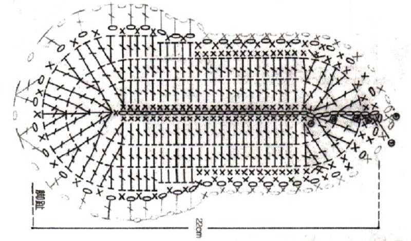 схема вязания подошвы следка