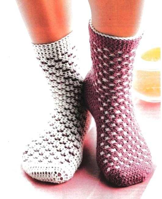 носки крючком носочными столбиками