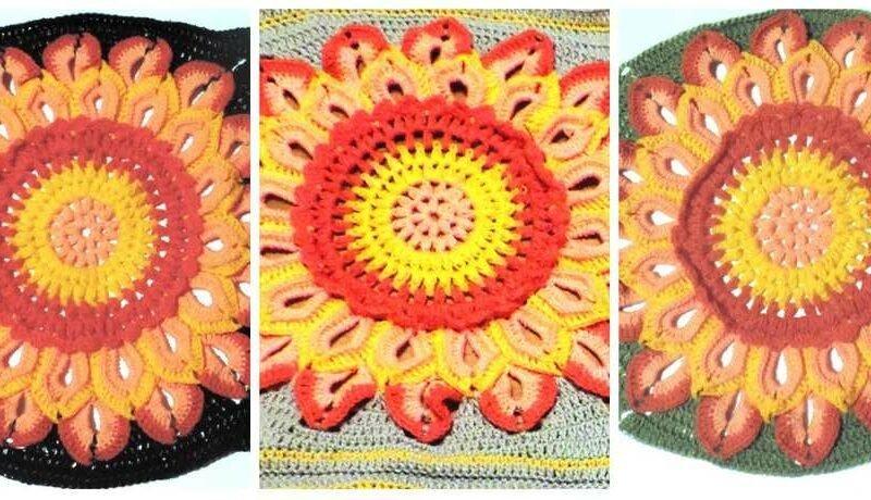 квадратный мотив с цветком на разном фоне