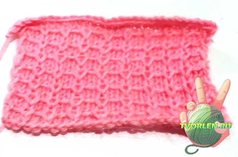 вафельный узор - образец вязания спицами