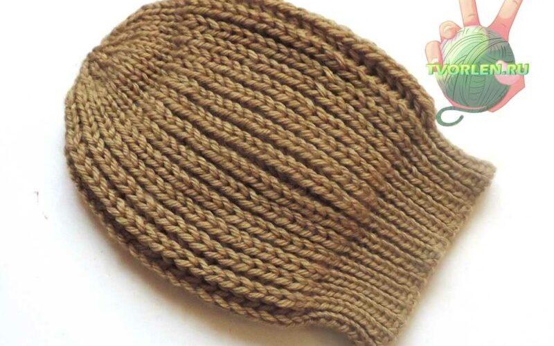 шапка связанная английской резинкой на 2 спицах