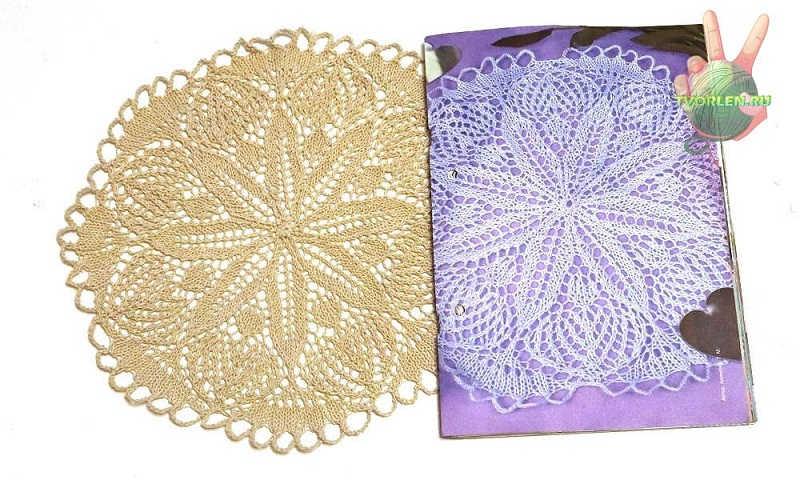 Описание вязания салфетки спицами по схеме из журнала