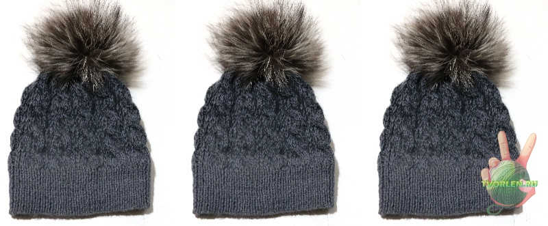 шапка узор коса спицами