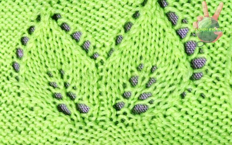 схема узора листья спицами с описанием
