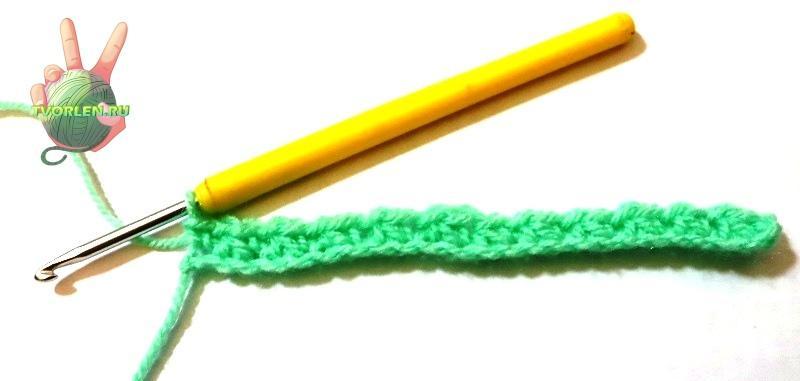 простой плотный узор крючком - первый ряд