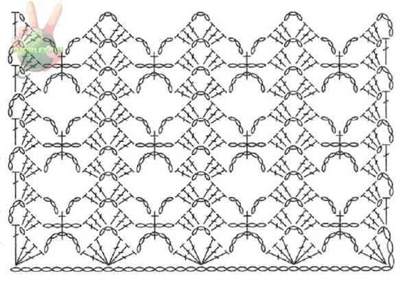 схема вязания крючком узора для палантина или шарфика
