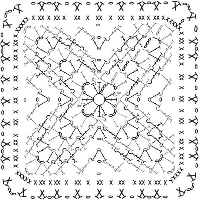 схема объёмного квадрата крючком